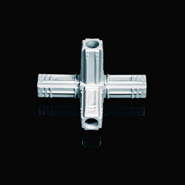 4 Way Connector 25mm Grey